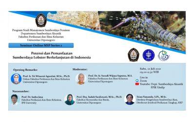 Seminar Online MSP Series 2 : Potensi dan Pemanfaatan Sumberdaya Lobster Berkelanjutan di Indonesia
