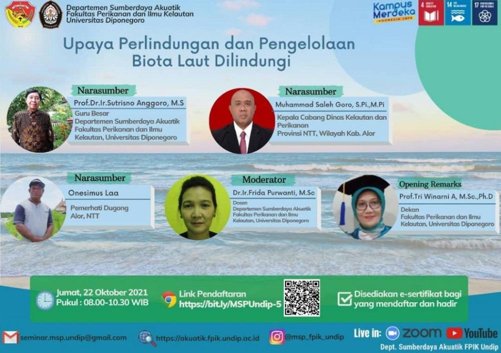 Seminar Online   Upaya Perlindungan dan Pengelolaan Biota Laut Dilindungi